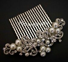 beautiful elegant wedding  bridal hair comb pearl and crystal 3608