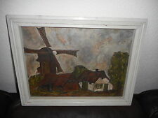 Very very old oil painting,{ Houses with a windmill, is signed, and antique! }.