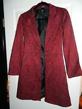 Red and Black Paisley Coat Long Jacket Size 2 Bisou Bisou Tapestry EUC