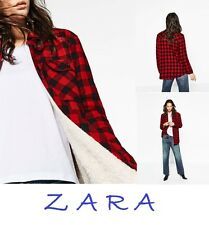 ZARA Checked Red Shirt-Jacket With FAUX Fur Lining New (RT$75) Jacket Size S/M