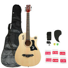 New DK-38C Wood Acoustic Guitar + Bag +String +Pick + Tuner & Accessories