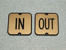 "IN and OUT 3"" Wood Door Signs Gold With Black Letters"