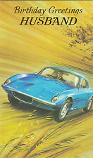 Vintage Lotus Elan Plus 2 Happy Birthday Husband Greeting Card