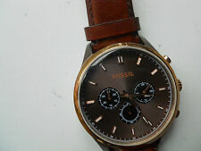 FOSSIL CHRONOGRAPH MEN'S BROWN LEATHER QUATZ & BATTERY ANALOG WATCH.FS:4632
