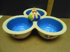 "Clay Art Stonelite Hand Painted Triple Bowl  ""Pool Party"" Serving Dish"