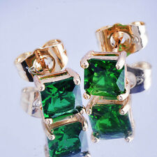 18K Yellow Gold Filled Fashion Green Emerald Stud Earrings Square For Women