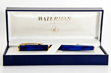 WATERMAN PREFACE ROMANCE  BLUE   MARBLE & GOLD ROLLERBALL  PEN  IN BOX   **