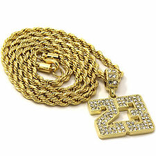 Mens 14k Yellow Gold Plated 24in Iced Out 23 Jump Man Rope Chain Necklace 4 mm