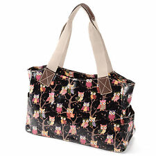 Cartoon Owl Print Oilcloth Shoulder Bag Women Bag Tote Shopper Handbag Black
