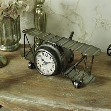 Ferro vintage aereo orologio per mensola del camino biplano stile shabby