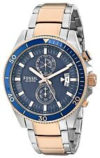 NEW-FOSSIL WAKEFIELD TWO TONE ROSE,SILVER,S STEEL BLUE DIAL CHRONO WATCH-CH2954