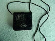 Brighton Black Organizer Purse Small Crossbody Wallet Moc Croc Leather ~ SWEET!!