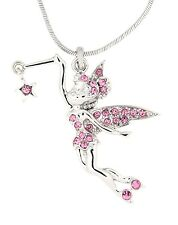 Tinkerbell Fairy Star Austrian Crystal Pendant Silver .925 Chain Necklace Pink