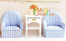 Dollhouse Miniature Furniture Livingroom Toy sofa 2pcs+cabinet+Champagne Rose