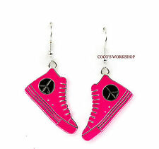 PEACE SIGN CND CANVAS CONVERSE BOOTS SHOES FUNKY ENAMEL DROP EARRINGS GIFT XMAS