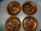 Set of 4 Vintage 3-D Relief Heavy Copper Colored Floral Berry Hanging Rounds
