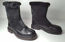 $1350 size 37 CHANEL Sport Winter Black Leather Shearling Boots Womens Snoes NEW