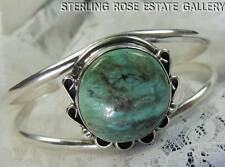 "VINTAGE AMERICAN WEST round TURQUOISE Sterling Silver 0.925 6 3/4"" CUFF BRACELET"