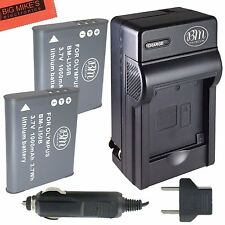 BM LI-50B 2X Batteries & Charger for Olympus TG-820 TG-830 iHS XZ-1 XZ-16 iHS