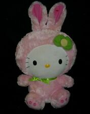 "16"" TY SANRIO HELLO KITTY IN PINK EASTER BUNNY RABBIT STUFFED ANIMAL PLUSH TOY"