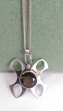 70's Modernist Kultaseppa Salovaara Finland Sterling & Smoky Quartz Necklace
