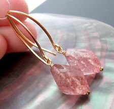 GORGEOUS FANCY FACETED  STRAWBERRY QUARTZ BEADS AND 24k VERMEIL EARRINGS