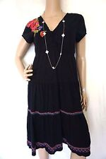 JOHNNY WAS EMBROIDERED Floral Cotton black Maxi Boho Hippie Dress M