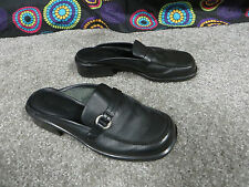 Naturalizer Black Leather Slip On Mules w/Strap & Ring Accent, sz 5.5M