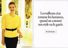 PUBLICITE ADVERTISING 074  1989  WEINBERG   mode pret à porter ( 2 pag) tailleur