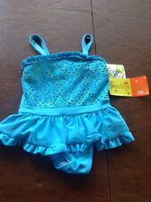 Penelope Mack 18 Month Baby Girls One Piece Teal/Green Swimsuit UPF 50+ NWT