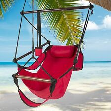 Hammock Hanging Chair Air Deluxe Outdoor Chair Solid Wood 250lb Red NEW
