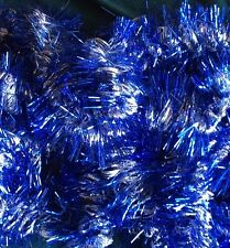 """40 Ft. Blue Silver 4"""" Garland + 18 Ft. Wire Green w/ Blue Silver 2.5"""" diam snow"""