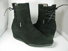 sz US 7 Mephisto black suede Ankle back Lace side zip Low Wedge boots pre-owned