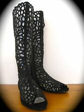 New Black Beautiful Lace Cut Open Toe Boots with rhinestone 37(6.5~7)