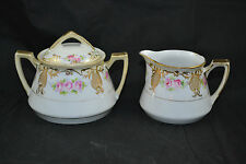 Nippon Hand Painted Creamer and Covered Sugar Raised Gold Moriage Roses