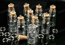 10 x GLASS BOTTLE PENDANTS cork EMPTY BOTTLES craft DIY kitsch pendant FILLABLE