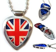 PICKBAY GUITAR PICK HOLDER NECKLACE SET + British Flag Pick Gift HOLDS PICKS