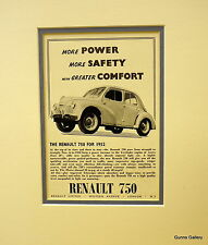 Original Vintage Advert mounted ready to frame Renault 750 French Car 1952