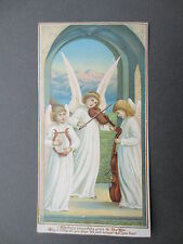 ANTIQUE New Year Greetings Card Three Angels Playing Violin Cello Lute 1880s