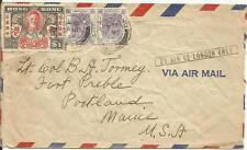 HONG KONG 1946 AIRMAIL COVER FROM HONG KONG TO PORTLAND MAINE USA VIA LONDON