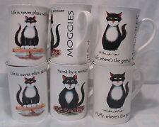 Set Of 6 MOGGIE OR CAT Fine Bone China Mugs Cups Beakers