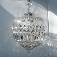 Vintage Crystal Acorn Basket Chandelier Glass Prism Pendant Ceiling Light