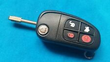 JAGUAR XJS XJ S & X TYPE 4 BUTTON FLIP KEY FOB REMOTE 433Mhz WITH NEW METAL KEY