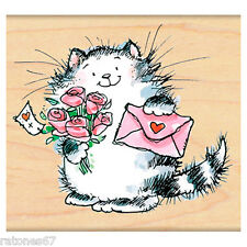 New Penny Black SPECIAL DELIVERY Wood Rubber Stamp Love Heart Cat Roses Letter