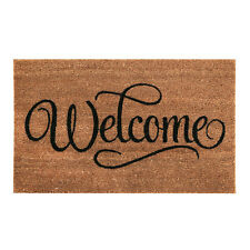 Large Welcome Coir Door Mat Rubber Bottom Front Outdoor Dirt Trapper Rug Runner
