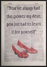 Wizard Of Oz Always Had Power Quote Vintage Dictionary Book Page Print Wall Art