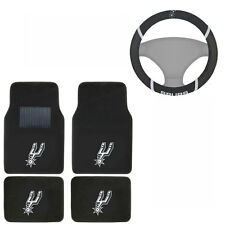 New NBA San Antonio Spurs Car Truck Carpet Floor Mats & Steering Wheel Cover Set