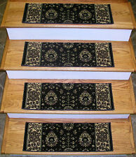 """Traditional Oriental Patterned 13 Carpet Stair Runner Treads Rugs 26"""" x 9"""" Brown"""