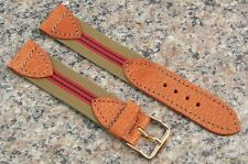 18mm -11/16 Watch Band NOS Strap Nylon w/TAN Pigskin Tabs Made in USA #461