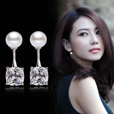 Womens 925 Sterling Silver Pearl Zircon Crystal Drop/Dangle Ear Stud Earrings